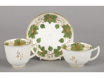 A Rockingham teacup, coffee cup and s...