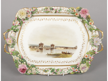 A large Rockingham card tray with C-s...