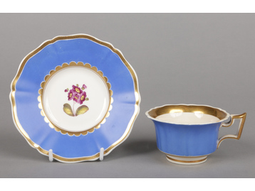 A Rockingham teacup and saucer with s...