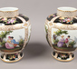 A pair of hand painted Dresden jars d...