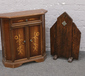 An Art Deco oak firescreen and a marq...