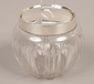 A silver lidded and mounted glass pre...
