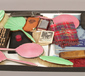 A tray of collectables including enam...