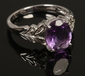 A 9ct white gold and amethyst dress r...