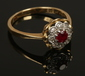 A vintage 18ct gold and platinum ruby...