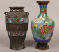 A Chinese cloisonne vase along with a...