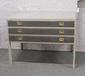 A grey painted three drawer plan ches...
