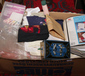 A box of cross stitches equipment to ...