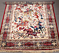 Red ground Kashmir rug with a traditiona