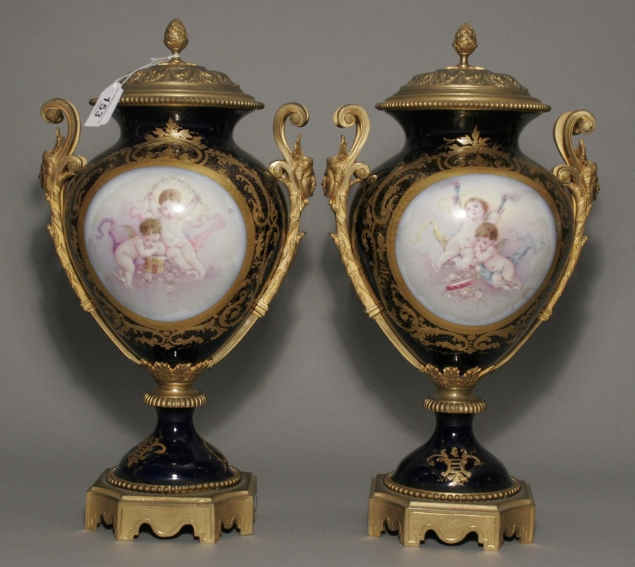 A large pair of Sevres vases.
