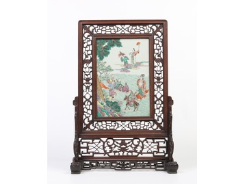 Qing dynasty famille vert table screen.