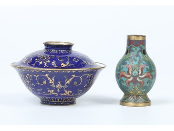 A Cantonese enamel bowl and other.