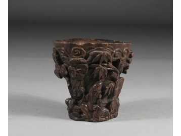 Chinese hardwood libation cup.