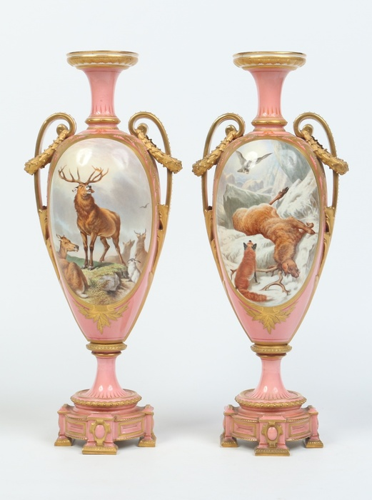 A pair of Victorian Royal Worcester urns