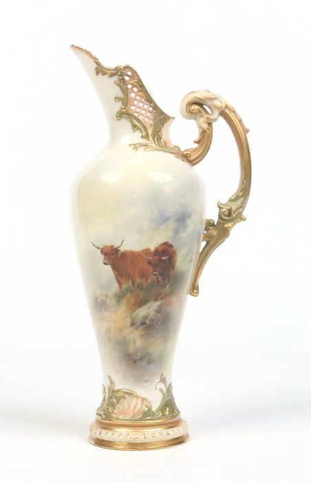 John Stinton Royal Worcester ewer.