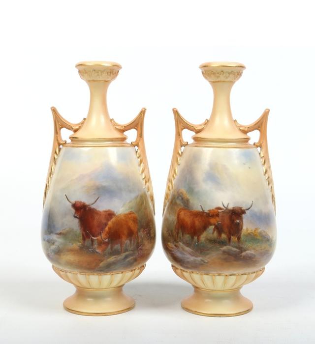 Pair Of Stinton Royal Worcester Vases Paul Beighton Auctioneers
