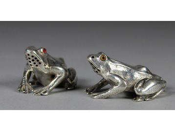 Pair of Victorian novelty silver cruets.