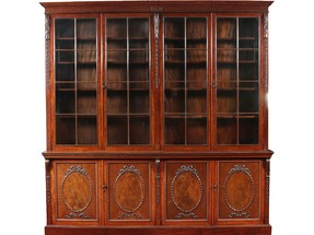 A large Victorian mahogany double librar