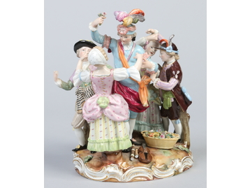 A late 19th century Meissen figure group