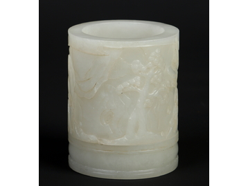 A Chinese carved celadon jade brush pot.