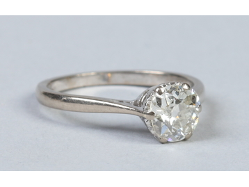 An 18 carat white gold solitaire diamond