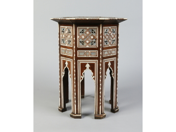 A Cairo inlaid octagonal mahogany side t