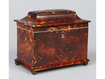 A Regency tortoiseshell tea caddy housin