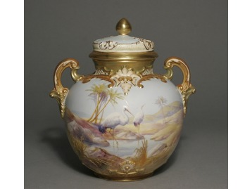 A Royal Worcester urn by Walter Powell.