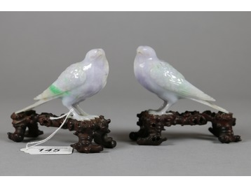 A pair of Chinese jade birds.