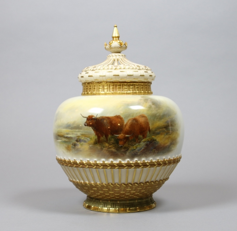 A Royal Worcester urn by J. Stinton.
