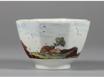 A Chelsea fable painted teabowl.