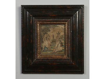 A framed 17th century domestic embroider