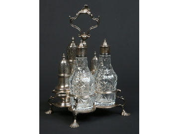 A George II silver five bottle Warwick c