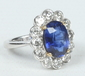 An 18 carat white gold sapphire and diam