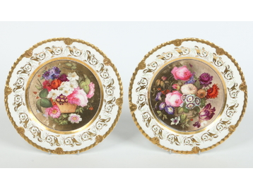 A pair of early Rockingham dessert plate