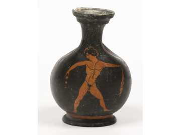 An ancient Greek terracotta askos. With