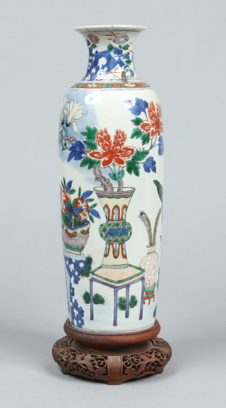 A 17th century Chinese wucai sleeve vase