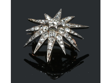 An Edwardian diamond starburst brooch pe