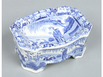 A Spode dog bowl printed in underglaze b