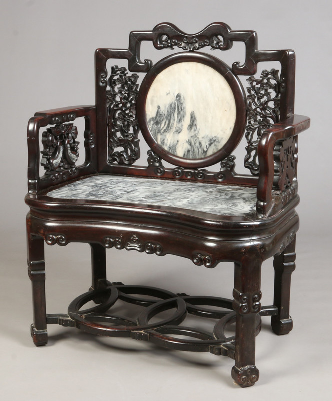 A Chinese late Qing dynasty hardwood arm