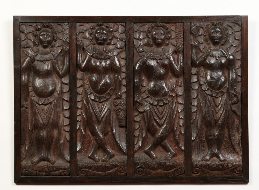 Medieval period carved oak plaque.