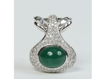 White gold, emerald & diamond pendant.