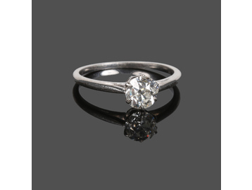 An antique diamond solitaire ring. Set w