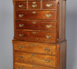 A George III oak chest on chest. With sw