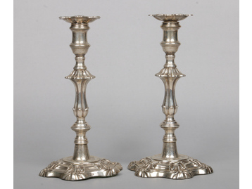 A pair of William IV silver table candle